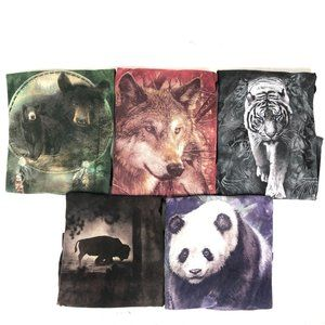 Lot of 5 The Mountain Wolves Tie Dye T-Shirts Snow